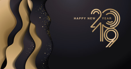 Happy New Year 2019. Vector illustration concept for background, greeting card, website and mobile website banner, party invitation card, social media banner, marketing material.