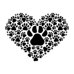 dog paws prints heart pattern