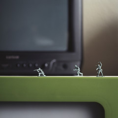Toy soldiers by television