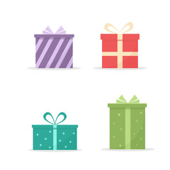 Gift boxes set on white background. Vector illustration in flat style
