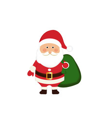 Santa Claus with gift bag on Christmas tree background.Santa Claus Christmas. Santa Claus with gift bag. Christmas festival Gimmick gift . symbol of the beloved childhood. Santa Claus.