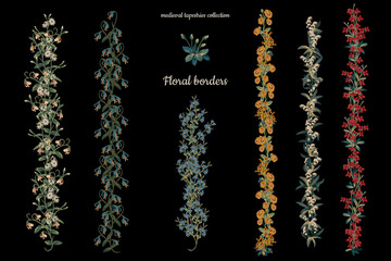 Hand drawn floral borders set in medieval tapestries style on black background