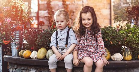 Printed kitchen splashbacks Artist KB Portrait of little siblings on a farm