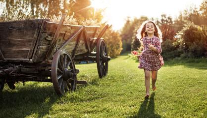 Deurstickers Artist KB Portrait of a little girl on a farm