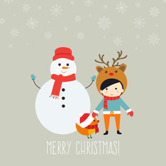 Merry Christmas greeting card with cute xmas characters.