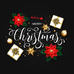 Merry Christmas Calligraphic Inscription Decorated with Poinsettia Flower, Gift Box Golden Stars and Beads on Black  Background. Vector illustration