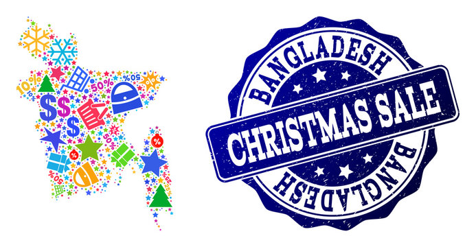 Christmas sale collage of mosaic map of Bangladesh and unclean seal. Vector blue seal with unclean rubber texture for Christmas Sales. Flat design for sale purposes.