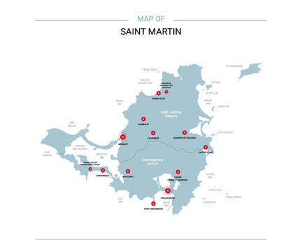 Saint Martin vector map. Editable template with regions, cities, red pins and blue surface on white background.