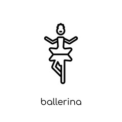 Ballerina icon. Trendy modern flat linear vector Ballerina icon on white background from thin line Activity and Hobbies collection