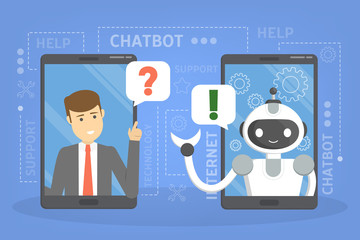 Talking to a chatbot online on laptop