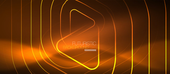 Color shiny neon lights background with abstract lines