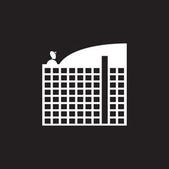hotel building icon. Simple element illustration. hotel building symbol design template. Can be used for web and mobile