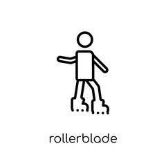 Rollerblade icon. Trendy modern flat linear vector Rollerblade icon on white background from thin line Activity and Hobbies collection