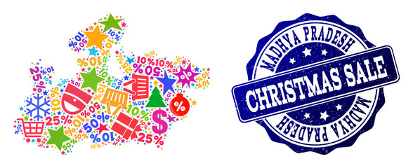 Christmas sale combination of mosaic map of Madhya Pradesh State and unclean stamp seal. Vector blue watermark with unclean rubber texture for Christmas Sales. Flat design for shopping posters.