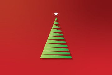 2D Illustration of  a single, line art Christmas tree 06A
