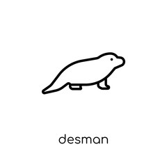 Desman icon. Trendy modern flat linear vector Desman icon on white background from thin line animals collection