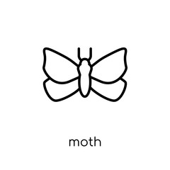 Moth icon. Trendy modern flat linear vector Moth icon on white background from thin line animals collection