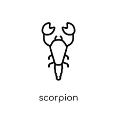 Scorpion icon. Trendy modern flat linear vector Scorpion icon on white background from thin line animals collection