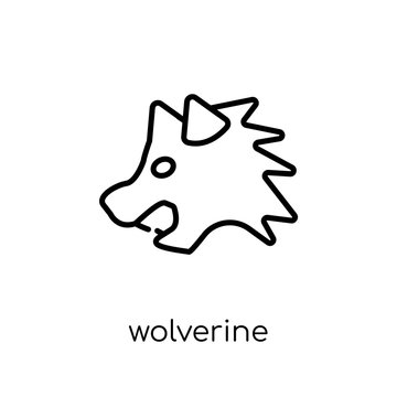 Wolverine icon. Trendy modern flat linear vector Wolverine icon on white background from thin line animals collection