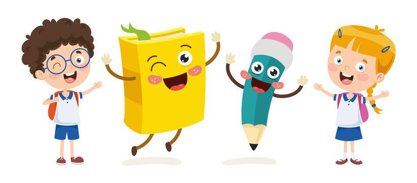 Vector Illustration Of Cartoon Students