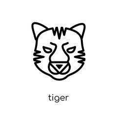 Tiger icon. Trendy modern flat linear vector Tiger icon on white background from thin line animals collection