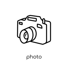 Photo icon. Trendy modern flat linear vector Photo icon on white background from thin line Architecture and Travel collection