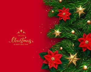 Holiday's Background with Season Wishes and Border of Realistic Looking Christmas Tree Branches With Gold Stars And Poinsettia Flowers On Red Background. Vector illustration