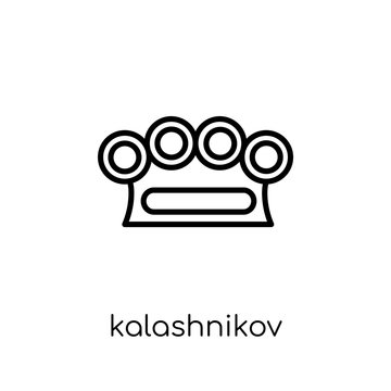 kalashnikov icon. Trendy modern flat linear vector kalashnikov icon on white background from thin line Army collection, outline vector illustration