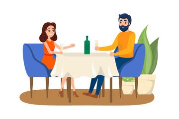 Couple having romantic dinner in the restaurant