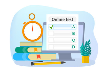 Online test concept. Quiz on the computer