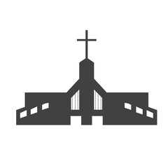 Isolated silhouette of a church. Vector illustration design