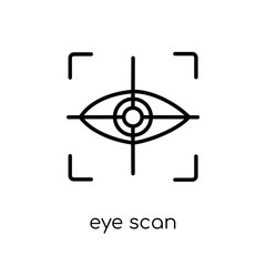 Eye scan icon. Trendy modern flat linear vector Eye scan icon on white background from thin line Artificial Intelligence, Future Technology collection