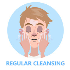 Face cleansing for skin beauty. Man washing his face