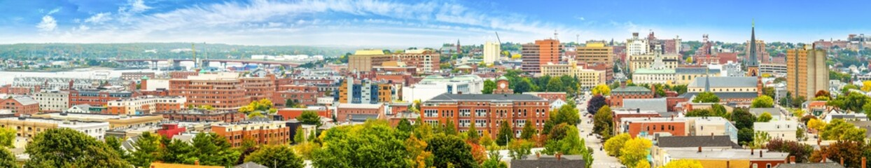 Wall Mural - Aerial panorama of downtown Portland, Maine along Congress street