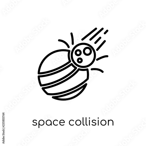 Space Collision Icon From Astronomy Collection Stock Image And