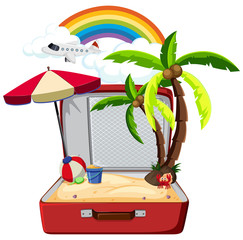 Summer element in suitcase