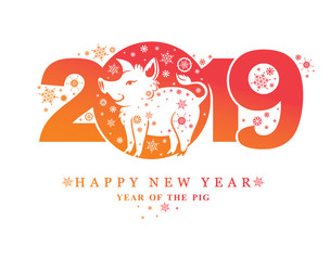 Year of the Pig 2019. New Years pattern 2019 and funny pig boar and snowflakes. Vector template New Year's design on the Chinese calendar.