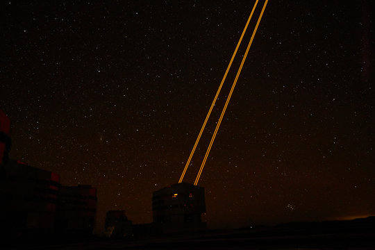 Lasers from a telescope at Paranal Observatory in Chile