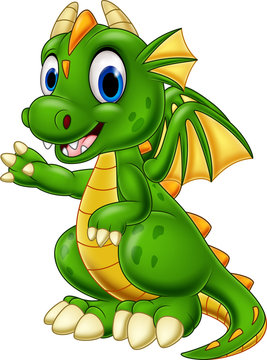 Cartoon baby dragon presenting