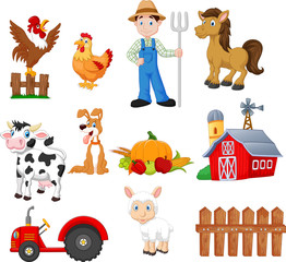 Set of farming cartoon with farmer, tractor, barn, animals, fruits and vegetables