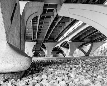 Supports under the Woodrow Wilson Bridge