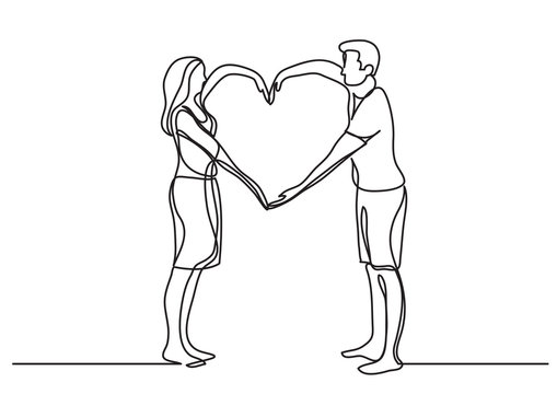 continuous line drawing of loving couple showing heart sign