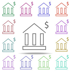 bank dollar icon. Elements of finance in multi color style icons. Simple icon for websites, web design, mobile app, info graphics