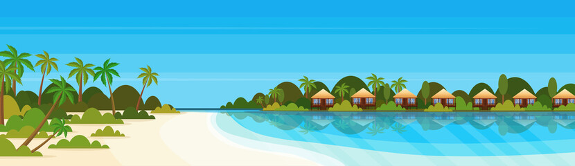 tropical island with villas bungalow hotel on beach seaside green palms landscape summer vacation concept flat horizontal banner
