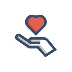 hand holding love icon vector with fill outline style. medical icon