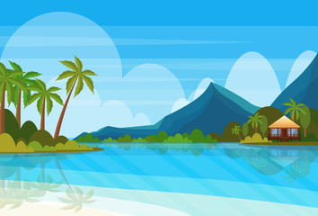 tropical island with villa bungalow hotel on beach seaside mountain green palms landscape summer vacation concept flat horizontal