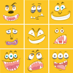 Set of yellow monster facial expression