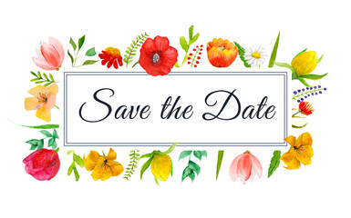 Save the Date watercolor flowers frame with text in the border.