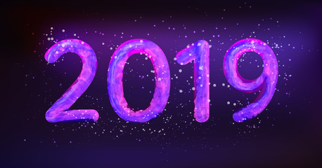 2019 Happy New Year vector illustration. Glowing in neon light caption 2019 with snow particles