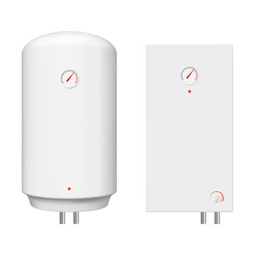 Realistic electric and gas boiler. Isolated vector water heater illustration.